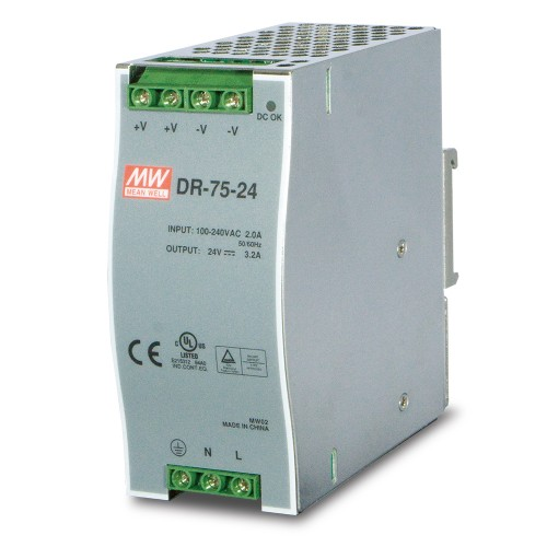 DR-75-24 75w 24V DC Single Output Industrial Din-Rail Power Supply (-10 to 60 Degrees C)
