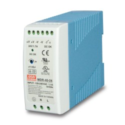 MDR-40-24 40w 24V DC Single Output Industrial Din-Rail Power Supply (-20 to 70 Degrees C)