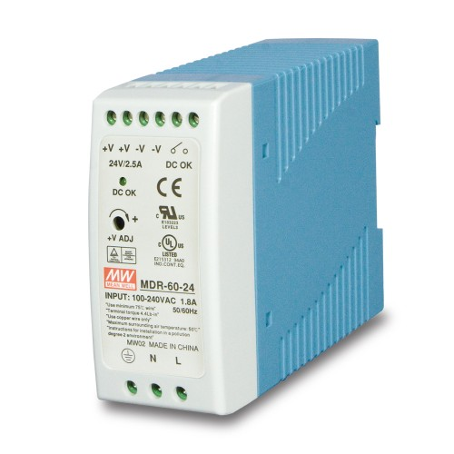 MDR-60-24 60w 24V DC Single Output Industrial Din-Rail Power Supply (-20 to 70 Degrees C)