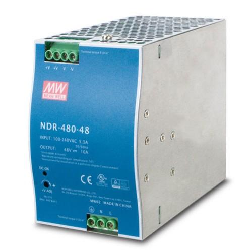 NDR-480-48 480w 48V DC Din-Rail Power Supply w/ adjustable 48-56V DC Output