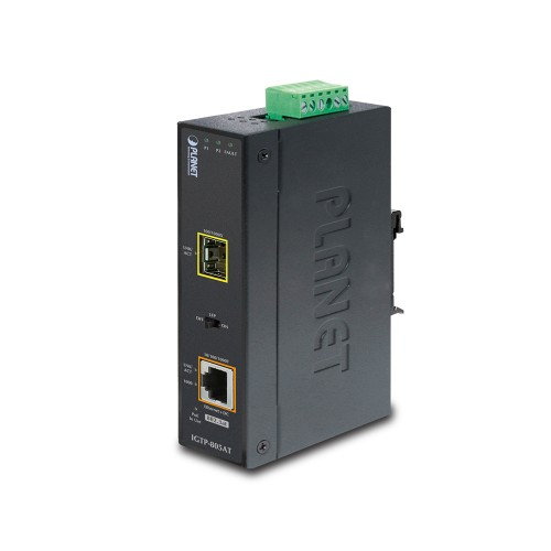 IGTP-805AT - 1000Base-SX / LX to 10/100/1000Base-T 802.3at PoE Industrial Media Converter (mini-GBIC, SFP)