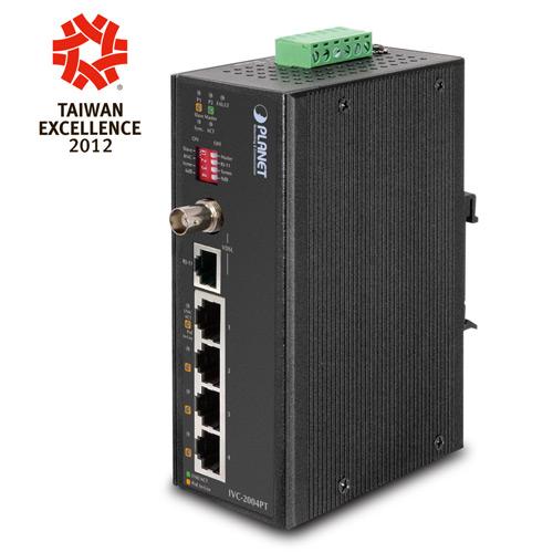 IVC-2004PT - 4-Port 10/100TX with PoE+ 1-Port BNC / RJ-11 Industrial Ethernet Extender (-40 ~ 75 degrees C)