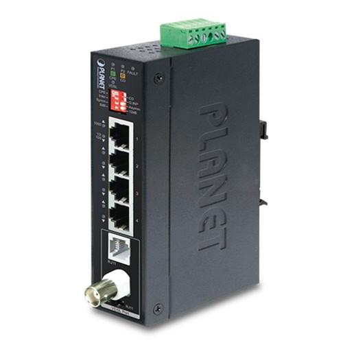 IVC-234GT Industrial 1-Port BNC / RJ11 to 4-Port Gigabit Ethernet Extender