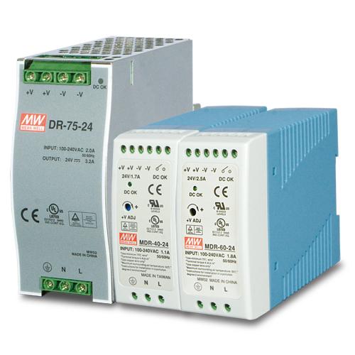 PWR-40-24 / PWR-60-24 / PWR-75-24  - DC Single Output Industrial DIN Rail Power Supply Units