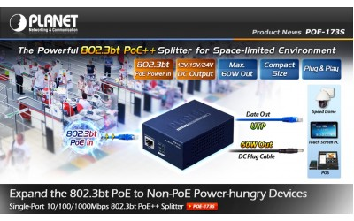 Planet POE-173S 802.3bt PoE++ Splitter 12v 19v 24v